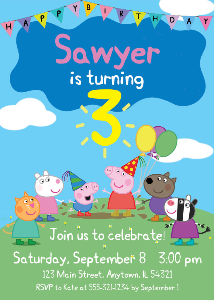 Custom Peppa Pig Birthday Invitation Printable George And Friends Personalized With Childs Name Age