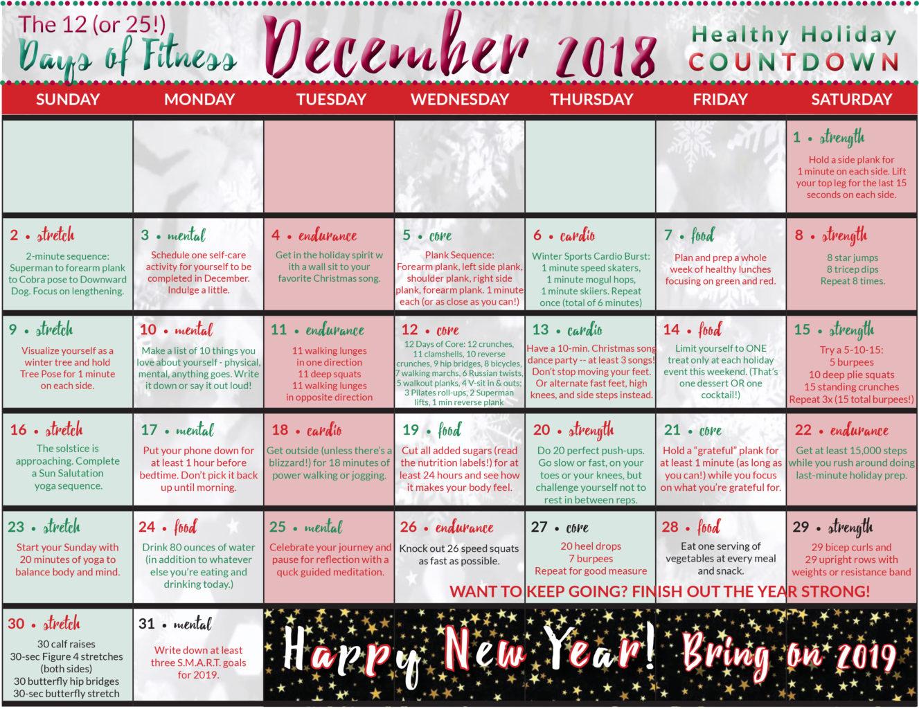 Healthy Holiday Countdown Calendar Neverdonewithfun