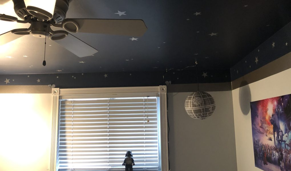 Outer Space Star Wars Inspired Kidsu0027 Bedroom: Wall And Celing DIY Tutorial  #kidsroomdecor
