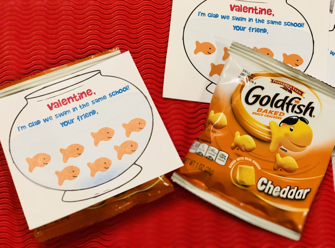 photograph about Goldfish Valentine Printable called Baby Goldfish Valentine Printable #NeverDoneWithFun